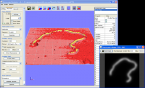 A model of an axoneme hand-fit to a scan from an atomic force microscope (red surface). A simulated atomic force microscope scan is displayed as a semi-transparent surface over the real scan, and a simulated fluorescence image is displayed in the bottom right window.