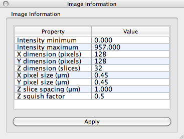 Image Information window with settings for the loaded image.