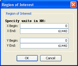 The region of interest controls in the Microscope Simulator.