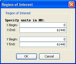 The region of interest controls in the Microscope Simulator.